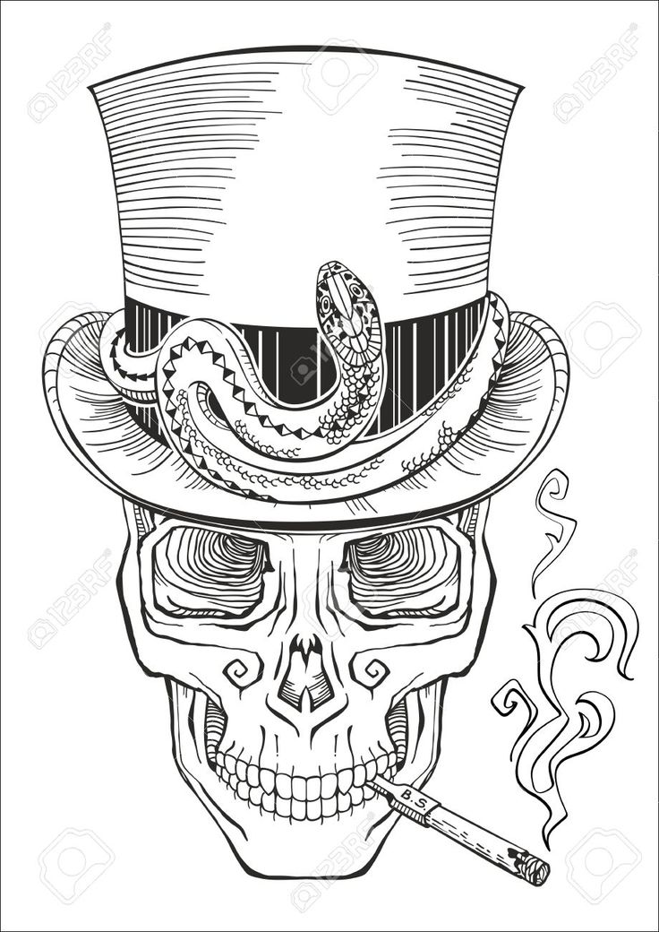 41889899 Human Skull In A Top Hat Baron Samedi Stock Vector Jpg