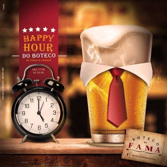 This is a cool fun design as it plays off of the concept of happy hour and adding a tie and collar to the beer.