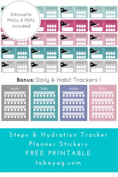 PlanIt! Step, Hydration, & Habit Tracker Stickers – Free Printable!