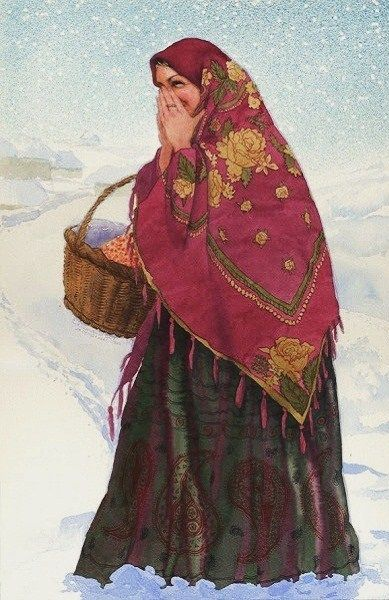 """""""Don't Confuse me, Ivan!"""" by Ekaterina Goncharova, a contemporary Russian artist. #art #painting #Russian #costume"""