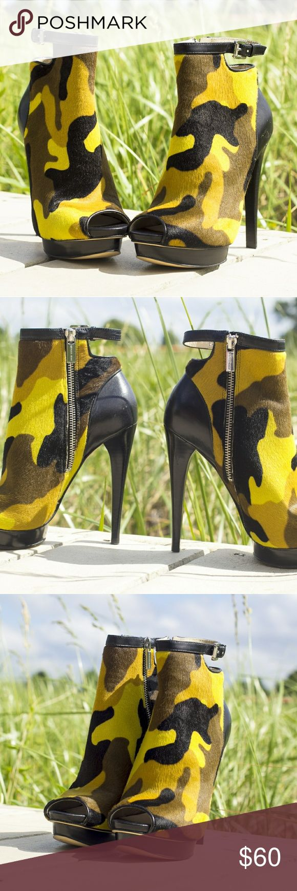 Michael Kors Camouflage booties These are super hot 🔥peep toe platform booties!  The camo color has  different greens browns and black.  Has a silver inside zipper and silver ankle buckle. Never worn. Made with calf hair NWOT these pics take by HSolanophotography@gmail.com Michael Kors Shoes Platforms