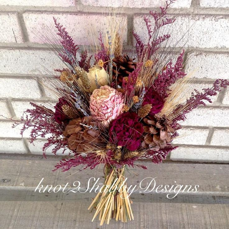 Fall bridal bouquet - dried flowers - peonies - peony - pinecone bouquet - wheat - lavender - bridesmaid bouquet rustic bouquet