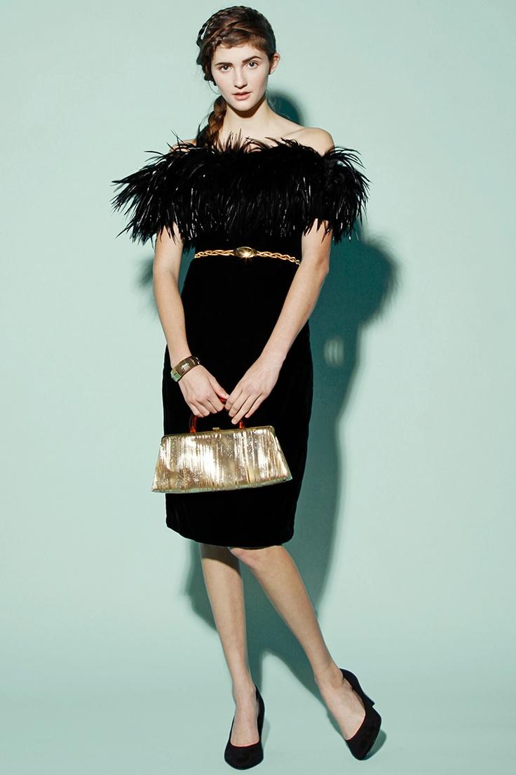Vintage 80s Black Feather Velvet Dress http://thriftedandmodern.com/vintage-80s-black-velvet-feather-dress
