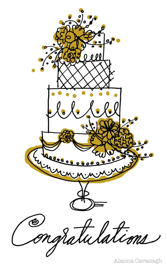 New Wedding cake  by Alanna Cavanagh 2013  #illustration #surfacedesign