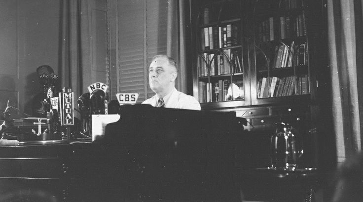 """FDR gives the first broadcast from his study in the Library on Labor Day declaring """"We shall do everything in our power to crush Hitler and his Nazi forces"""", September 1, 1941 ♡❀♡✿♡❁♡✾♡✽♡❃♡☀♡  http://www.fdrlibrary.marist.edu/   http://en.wikipedia.org/wiki/Franklin_D._Roosevelt"""