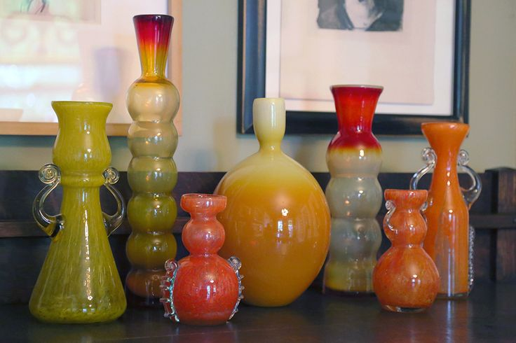 collection of modernist art glass from Poland, circa 1970s, including the work of Zbigniew Horbowy and his student Kazimierz Krawczyk.