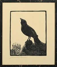 Blackbird, bekkasin and svans 4 works by Johannes Larsen