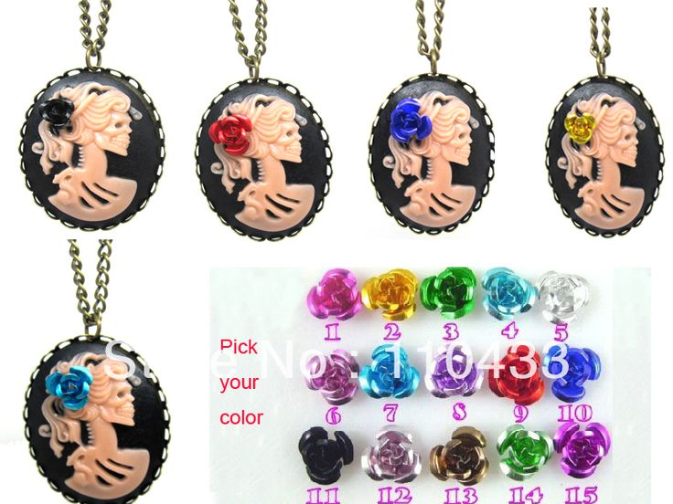 cameos on chains -- -use for decor dangle from flowers