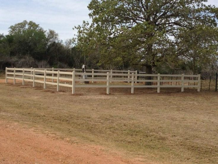 3 Rail Ranch Style Fence Tan Vinyl Ranch Style Fence