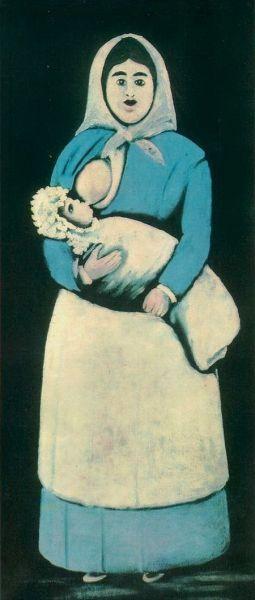 Кормилица с ребенком. Нико Пиросмани, клеенка, масло, ГМИ Грузии, Тбилиси