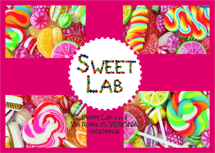 Ho utilizzato il carattere per creare il volantino pubblicitario di un ipotetico negozio di caramelle a Verona