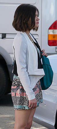 Aria's zebra print romper and white jacket on Pretty Little Liars.  Outfit Details: http://wornontv.net/49934/ #PLL