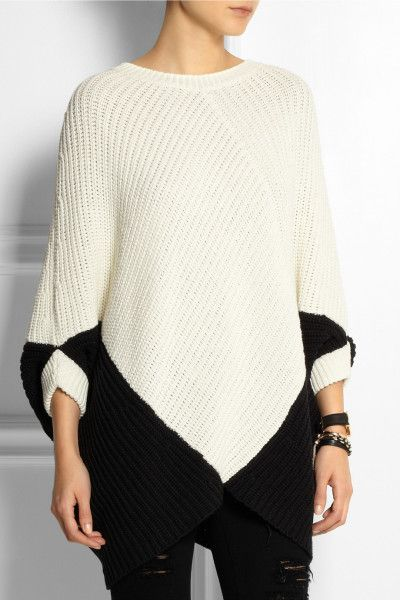 Maje Kassiope Chunky Knit Sweater in Black (White) | Lyst