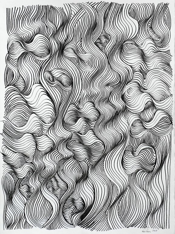 "Saatchi Online Artist: Ken Resen; Pen and Ink, 2011, Drawing ""Turbulence"""