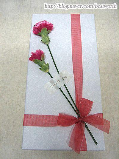 선물에 카네이션을 달아요(3)/ 손쉬운 카네이션 장식포장 : 네이버 블로그