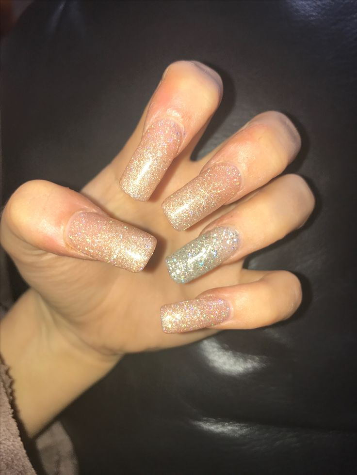 Nude Gold Silver Acrylic Nails With Glitter Chrome  -8118