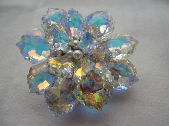 Aurora Flower Swarovski Crystal Wedding Brooch by sylvanbliss, $92.00