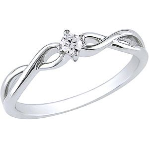 Round Diamond-Accent 10kt White Gold Promise Ring
