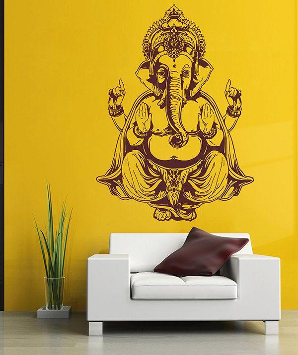 Kik2876 Wall Decal Sticker Elephant God Ganesha Hindu Bedroom Living Room