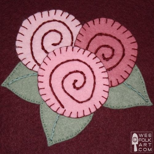 Free applique patterns  - can use this idea to make flowers out of a circle paper punch or die and bakers twin spirals