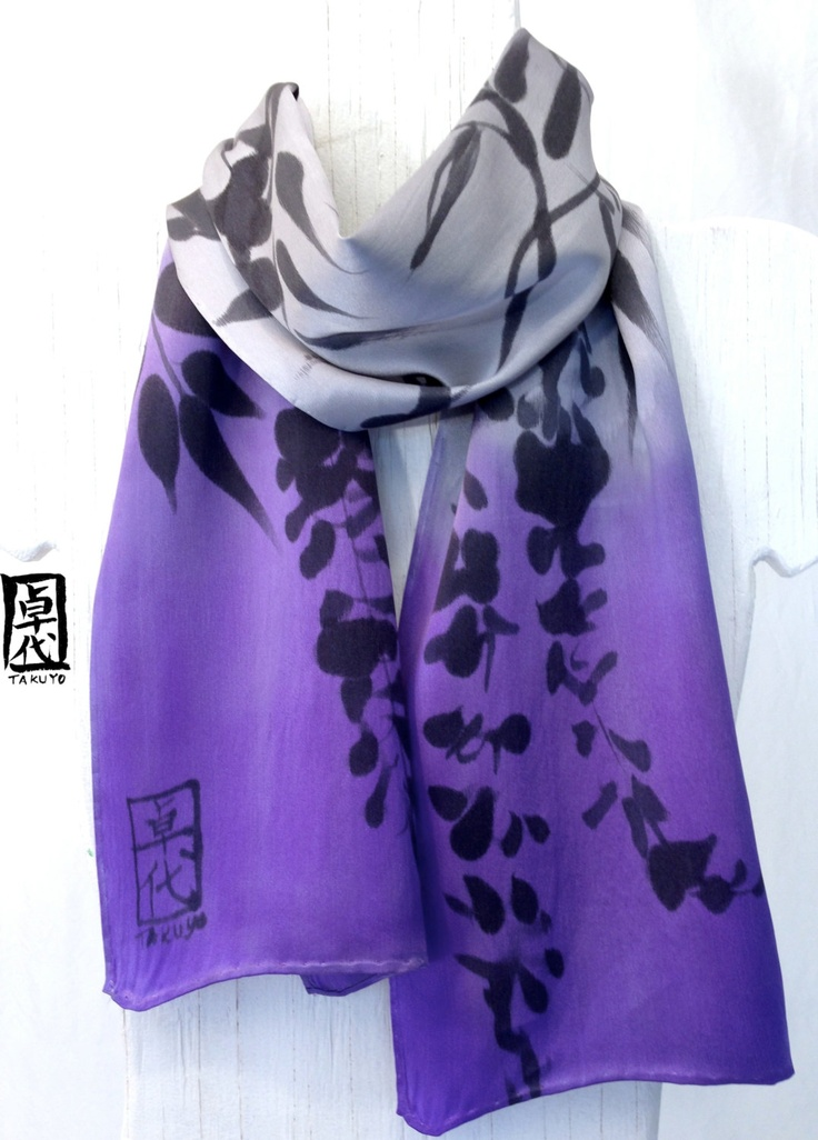 Hand Painted Silk Scarf, Purple Floral Scarf. Ombre Japanese Scarf, Wisteria Purple Gray. Silk Charmeuse Scarf.