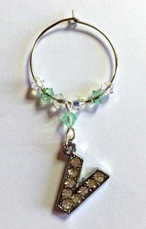 Letter 'V' Wine Glass Charm - with Swarovski Crystals - birthstone gift idea by Makewithlovecrafts on Etsy