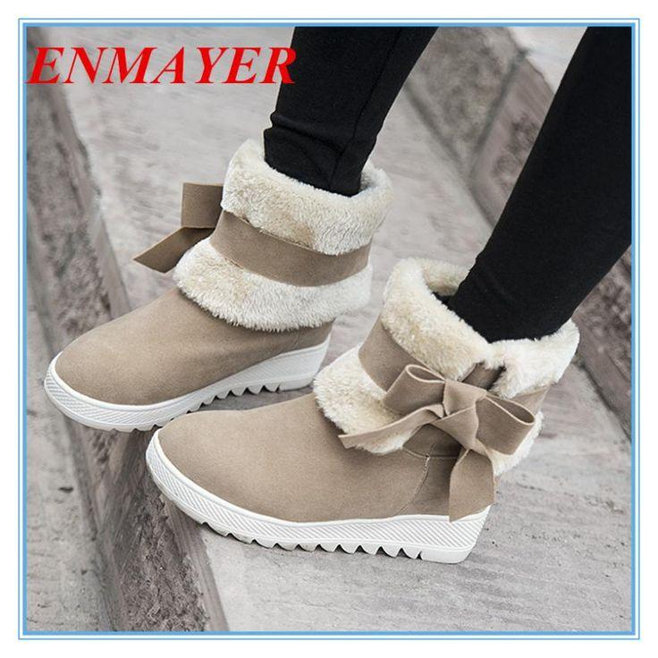 ENMAYER Женская Мода Теплые Зимние Ботинки лук Ботильоны Платформы Круглым Носком Ботинки Снега 3 цвета платформа сапоги большой размер 34-43