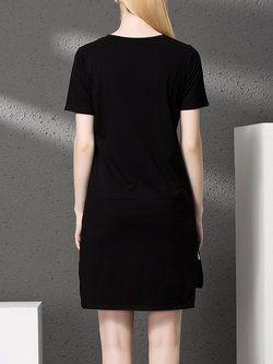 Letter Cotton Mini #Dress