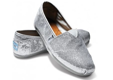 Silver, sparkly Toms #toms
