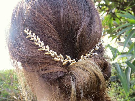 bridal Hair accessories, Brides Headpieces, Gentle Gold Leafs Hair Wreath, gold Leaf Crown, Wedding Headband, bridal accessories, tiara