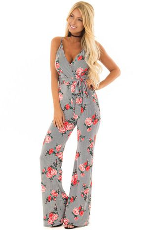 29c3ddbd7540 Black Stripe Floral Crossover Jumpsuit with Waist Tie Detail front close up