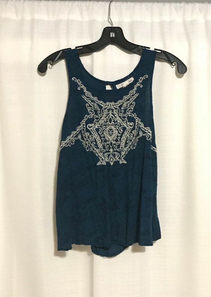 274430fec9e XS Dressy Navy Blue Tank Top With White Lace Design - Amazing Condition # fashion #clothing #shoes #accessories #womensclothing #tops (ebay link)