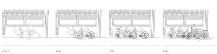 Un espagueti para guardar cinco bicicletas  El club Groucho de Londres (Gran Bretaña) convocó un concurso para crear un diseño original para el estacionamiento de las bicicletas.  Se pedía buen diseño, materiales duraderos y fáciles de mantener, integración con el paisaje urbano, un precio por debajo de los 1.900 euros y capacidad para al menos cinco bicicletas.