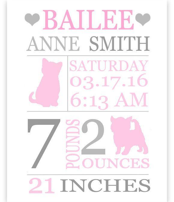 Kitten Birth Stats Print, Baby Name Art, Personalized Baby Gift, Cat Birth Announcement, Custom Baby Gift, Baby Girl Wall Art, Kitten Canvas by SweetPeaNurseryArt on Etsy
