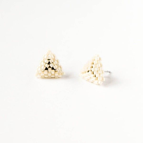 Cream beaded triangle stud earrings