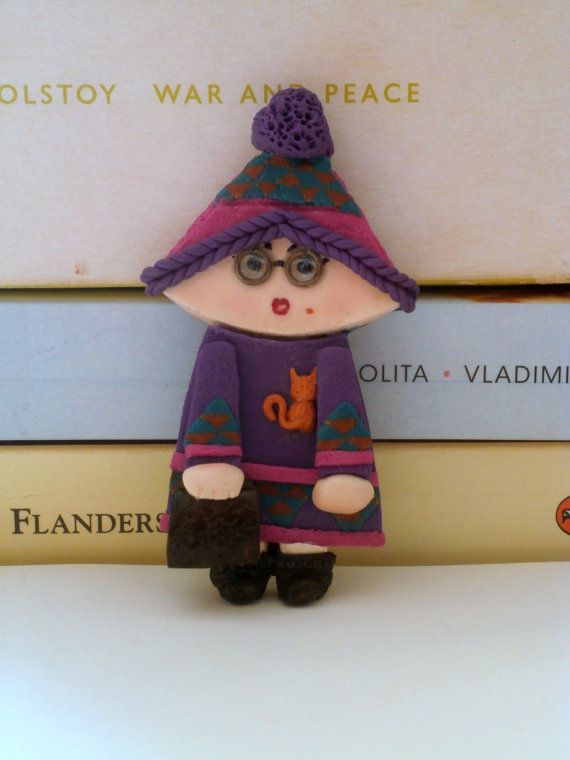 Book lover girl violet fuchsia polymer clay brooch by Lijoux