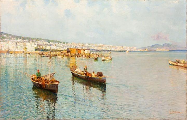 """PRATELLA FAUSTO  """"Mergellina-Napoli""""  64x100 olio su tela  Opera firmata in basso a destra, intitolata al retro"""