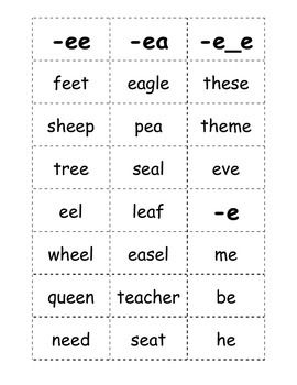 """Here is a list of words with the long e sound that kids can play games with. This document includes words with the """"-ee,"""" """"-e_e,"""" """"-e,"""" and """"-ea"""" spelling pattern.  Here is my usual routine with these words cards: 1. Cut & Cleanup (That way they have a clean playing area!) 2."""