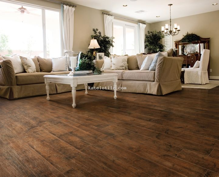 Katelotile.com - Porcelain wood-look tile - Aspen Cherry...love this idea for the house....dog can't wreck the floor!
