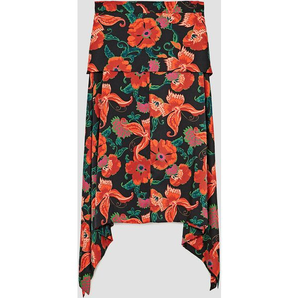 PRINTED FLOWING MIDI SKIRT - NOMAD-WOMAN-EDITORIALS | ZARA United... (87 AUD) ❤ liked on Polyvore featuring skirts, mid-calf skirts, midi skirt and calf length skirts