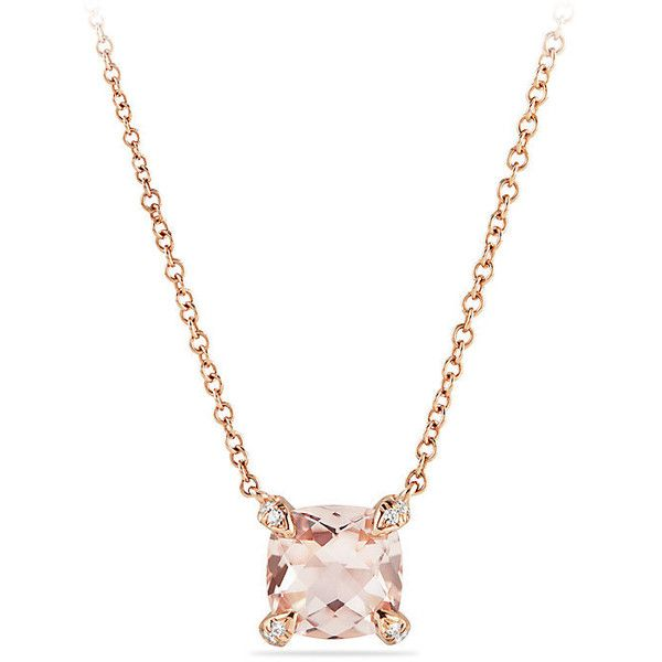 David Yurman Chatelaine® Pendant Necklace with Diamonds in 18K Rose... ($1,150) ❤ liked on Polyvore featuring jewelry, necklaces, diamond necklace pendant, rose gold diamond pendant, chain pendants, diamond necklace and pave diamond pendant
