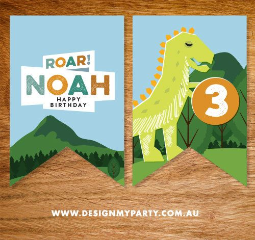 Dinosaur Birthday Flag Bunting Personalised by DesignMyPartyShop