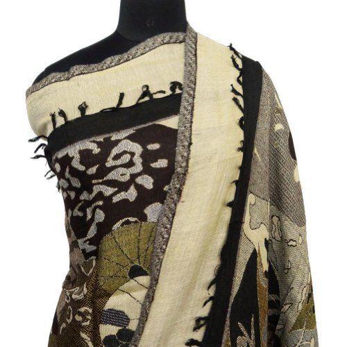 """Ibaexports Jamavar Viscose Shawl Neck fringe Wrap Scarf Women Wear Pashmina Beige Stole 82"""" x 28"""" Inches IBA. $34.99"""