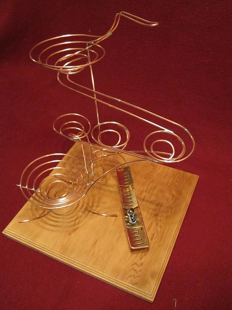 Rube Goldberg - Rolling ball sculpture, copper and brass