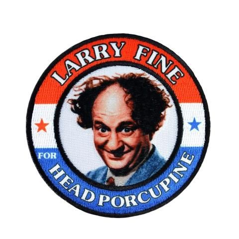 Three Stooges Iron On Patch Larry Fine Head Porcupine