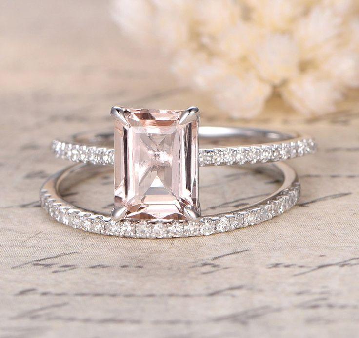 $629 Emerald Cut Morganite Engagement Ring Sets Pave Diamond Wedding 14K White Gold 6x8mm