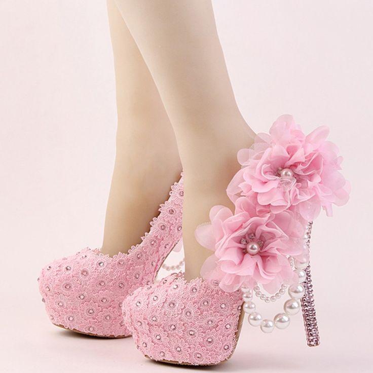 Shoespie Large Flower Appliqued Bead Bridal Shoes https://ladieshighheelshoes.blogspot.com/2016/11/holiday-sale.html http://bellanblue.com