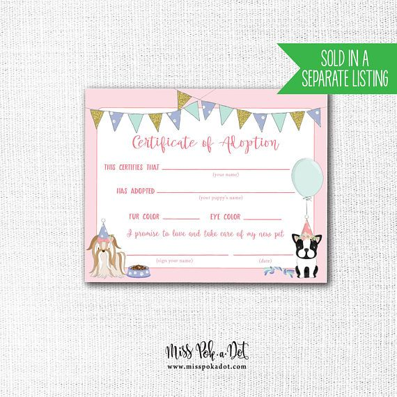 Adopt A Pet Sign Printable Dog Birthday Party Puppy Etsy In 2020 Puppy Adoption Pet Adoption Certificate Dog Birthday Party
