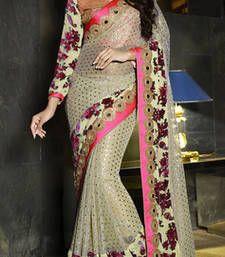 Buy Beige embroidered art_silk saree with blouse wedding-saree online