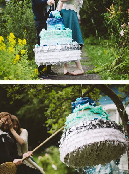 DIY Wedding Cake Pinata. What a cute idea! Instructions here http://www.etsy.com/blog/weddings/make-an-ombre-wedding-cake-pinata/